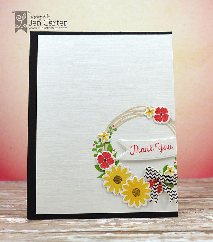 Jen Carter, card, Lil' Inker Designs, LID, Fall, Welcome Wreath, sunflower, thank you