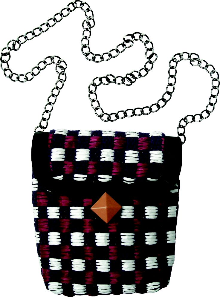 Submarine Xs chain small bag in handwoven fabric chess violet. geometrical details. chain handle