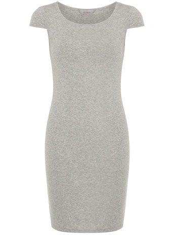 Petite grey short sleeve tube dress