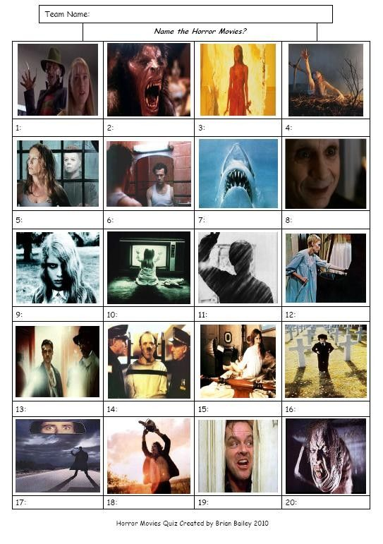 Horror movies picture round pub quiz pinterest for Table quiz rounds