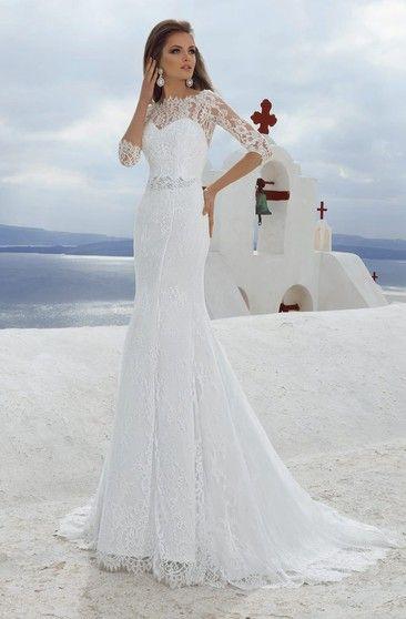 1a7160094 Bateau Neck 3-4 Length Sleeve Sheath Lace Wedding Dress With Beading