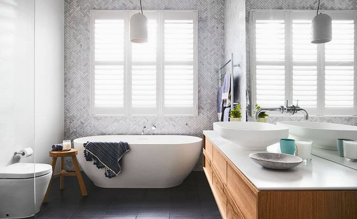 Interior stylist and former winner of The Block Dea Jolly brings her classic and contemporary style into her family bathroom.