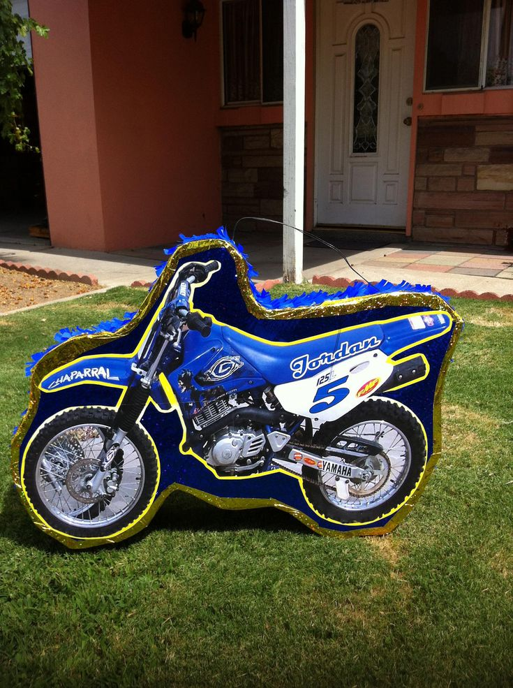 Dirt Bike blue Pinata. $35.00, via Etsy.