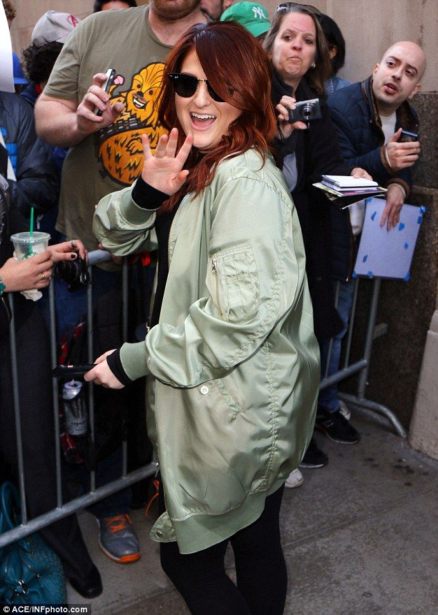 Friendly to fans: The All About That Bass hitmaker signed autographs before heading to yet...