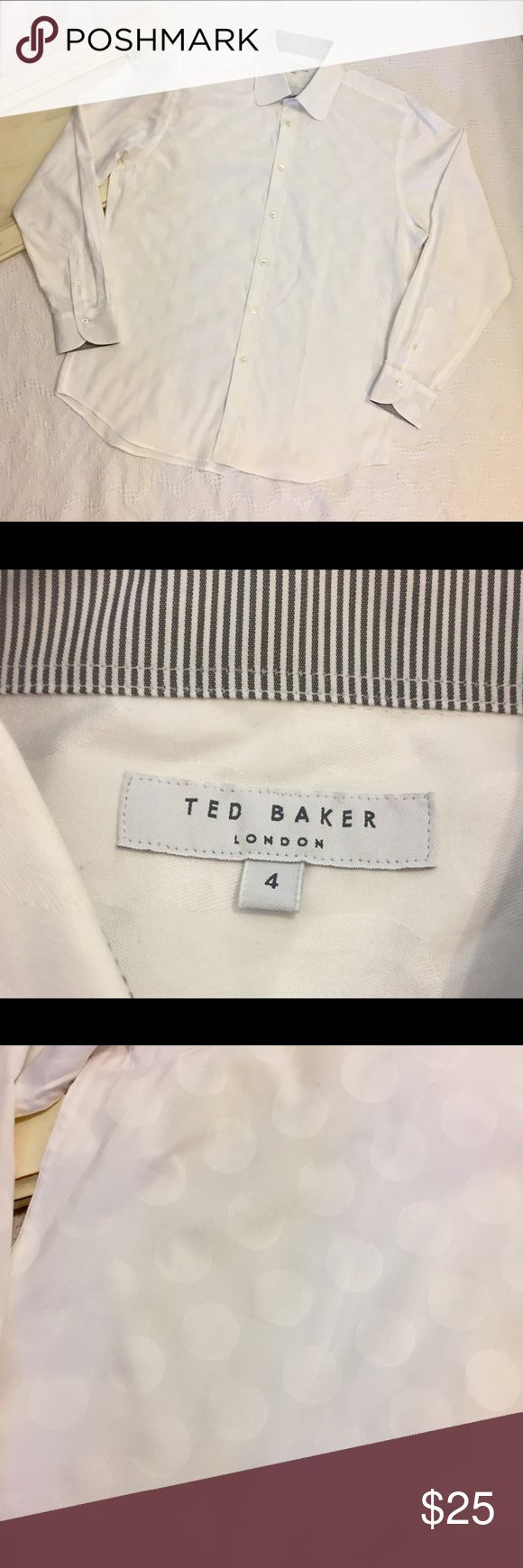"""Men's Ted Baker London Long Sleeve B/D Sz 4 Lg Men's Ted Baker London Long Sleeve Button Down size 4 which is a US Large.  Nice White Long Sleeve with inlaid Polka Dots/Circles, such cool.  Gently used condition, no flaws or defects. Please see pictures for details.   Armpit to Armpit - 24  Length - 31""""   Thank you for shopping with us, we appreciate your business.  *All items are measured laying flat, please be sure to check sizing before purchasing.  All brands do fit differently and all…"""