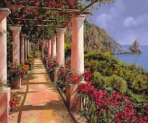Painting - Le Colonne E La Buganville by Guido Borelli