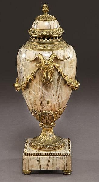 Gilt-bronze mounted marble urn the lid surmounted …