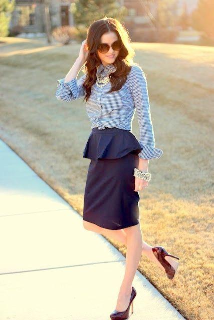 Peplum skirt outfit idea #1. Wear a peplum skirt with a rolled-cuff button-down shirt and chic pumps.