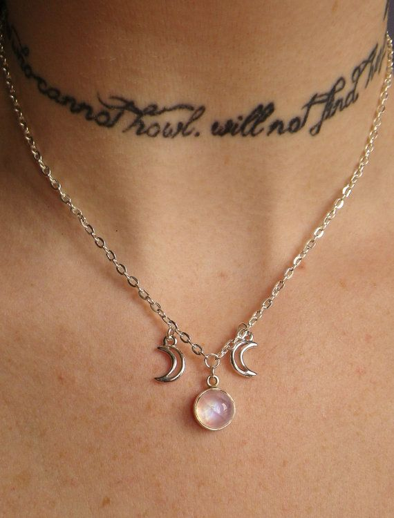 Moonstone triple goddess moon necklace