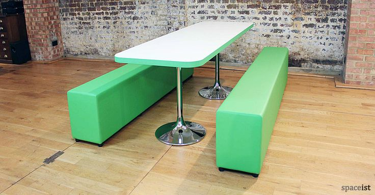 Soft-bench canteen benches in lime green vinyl.