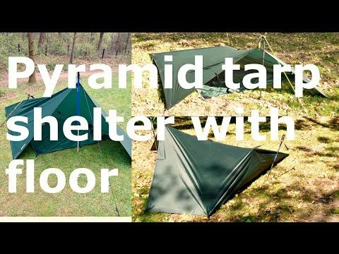 tarp shelter: floored pypramid #1 and #2 - YouTube