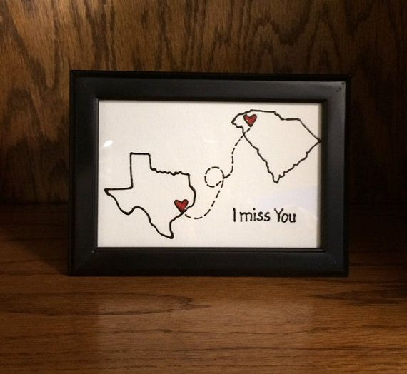 Last Day for VDAY FEB 7-- State to State greeting card w/ Frame -Thinking of you, Long distance Relationship, Going Away, Friends Forever