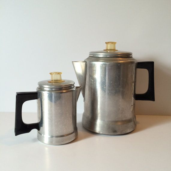 Vintage Mirro Aluminum Percolator Coffee Maker Bakelite Handle 2 Cup or a 9 Cup Coffee Pot ...