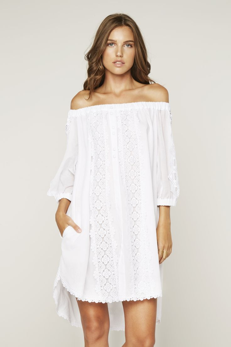 long embroidered flared dress - White Charo Ruiz Ibiza 375hwI18S