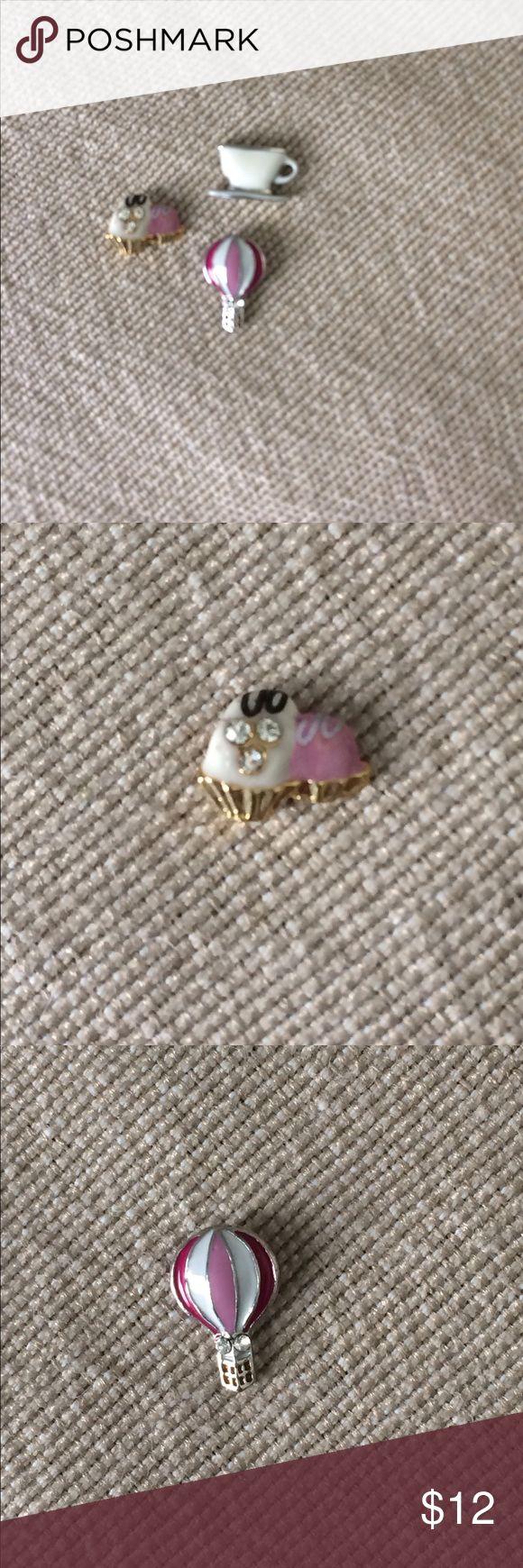 Origami Owl brand charm set Teacup, hot air ballon, cupcakes Origami Owl Jewelry