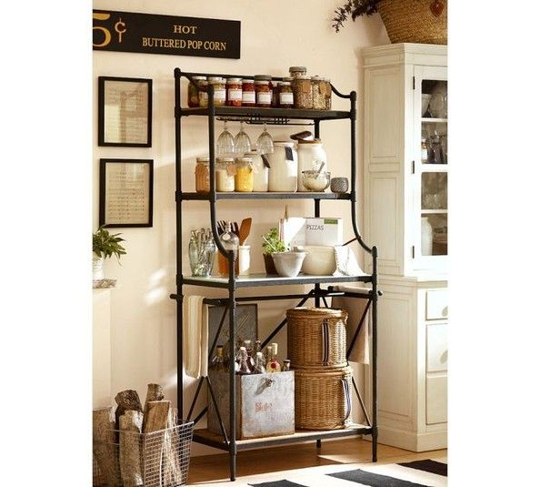 Baker's rack (or pretty bookshelf) for extra storage- i need something like this for the end or my dining room....