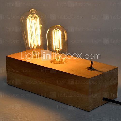 Nordic Mediterranean Style Fumigated Wood Desk Lamp for Reading Room Bedroom,Wooden Art Edison Bulb Table Lamp - GBP £ 54.52
