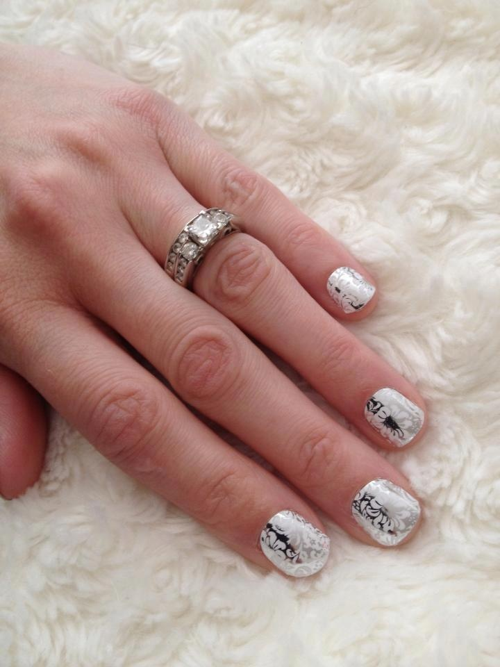 Decorative Silver And White Jamberry Nail Wraps -- Last 2