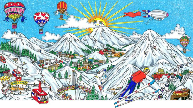 Charles Fazzino 3D Art Charles Fazzino Limited Edition 3-Dimensional Serigraph Ski Vacation (DX)