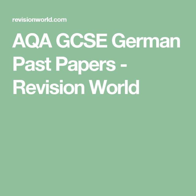 AQA GCSE German Past Papers - Revision World