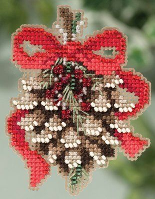 Mill Hill Pinecone - Beaded Cross Stitch Kit. Kit Includes:Beads, treasures, 14 Ct. perforated paper, pattern, floss, needles, magnet and instructions. Finished