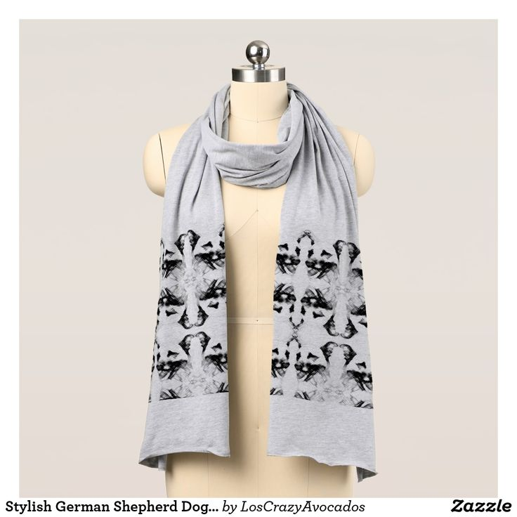 Stylish German Shepherd Dog Pattern Jersey Scarf