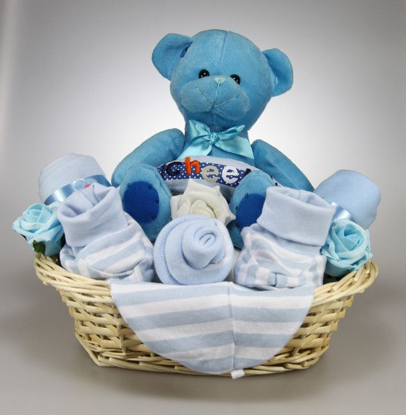 Handmade Newborn Baby Boy Gift Basket with Cute Teddy