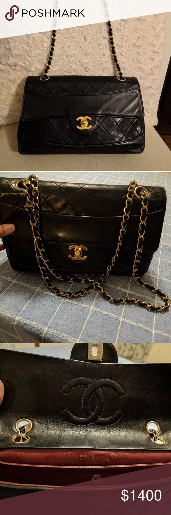 Chanel Bag single flap chain vintage authentic Vintage bag, Chanel, Authentic with authenticity card, hologram sticker inside intact, has wear and tear CHANEL Bags Shoulder Bags