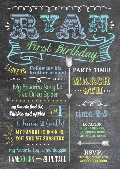 Adorable Baby's Firsts Birthday Invitation!