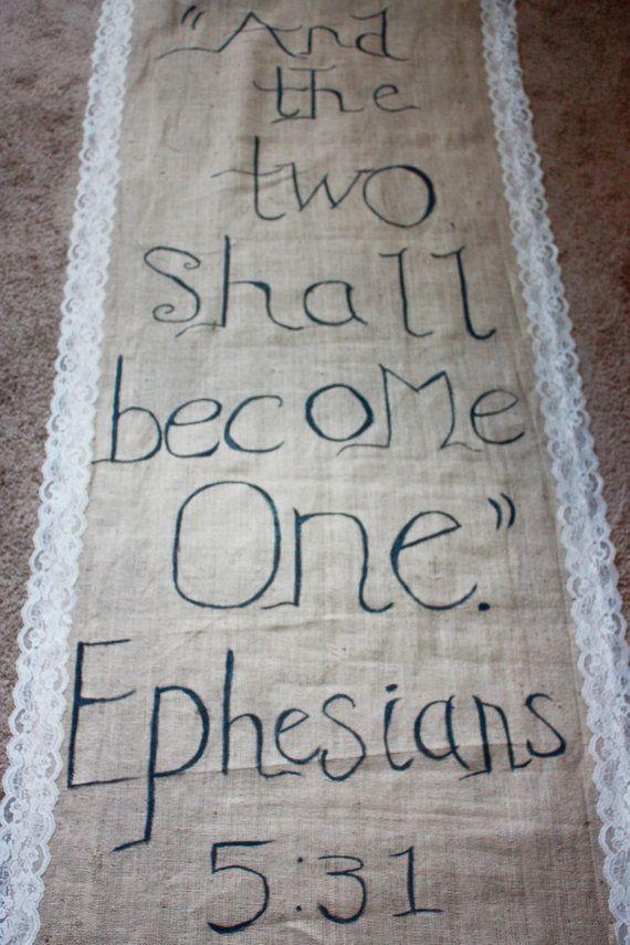 Burlap aisle runner with bible quote #brides #burlap #weddings