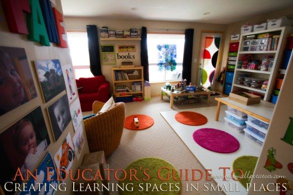 Awesome ideas for play space organization in a small space/classroom