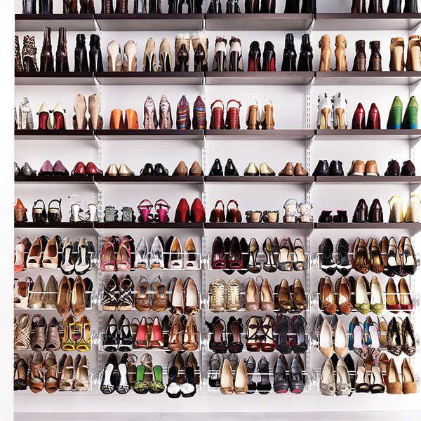 the container store u003e walnut u0026 white elfa dcor heels closet