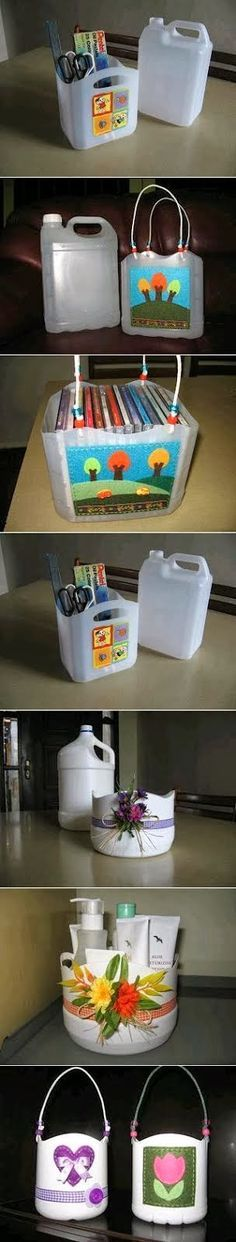 DIY and Crafts For Everyone: Recycling : Plastic Bottle Baskets                                                                                                                                                      Más