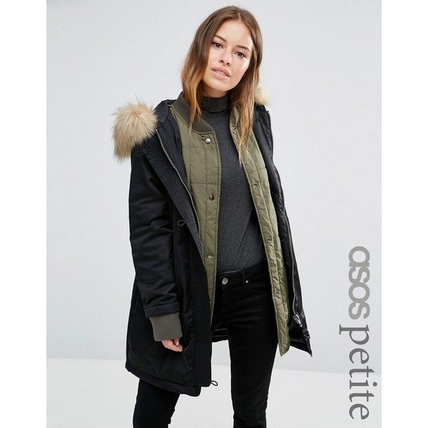 ASOS PETITE 3 in 1 Parka with Ribbed Collar (€105) ❤ liked on Polyvore featuring outerwear, coats, green, hooded parka coat, parka coats, green parka coat, asos coats and dkny hooded faux-fur-trim parka coat