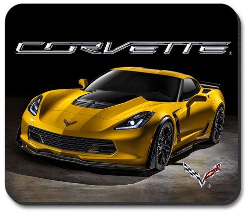 C7 Corvette Yellow Vette Computer Mouse Pad featuring a non-slip rubber backing that will work with any mouse type, optical or ball. Image is a clear, highly detailed representation. Spruce up your wo