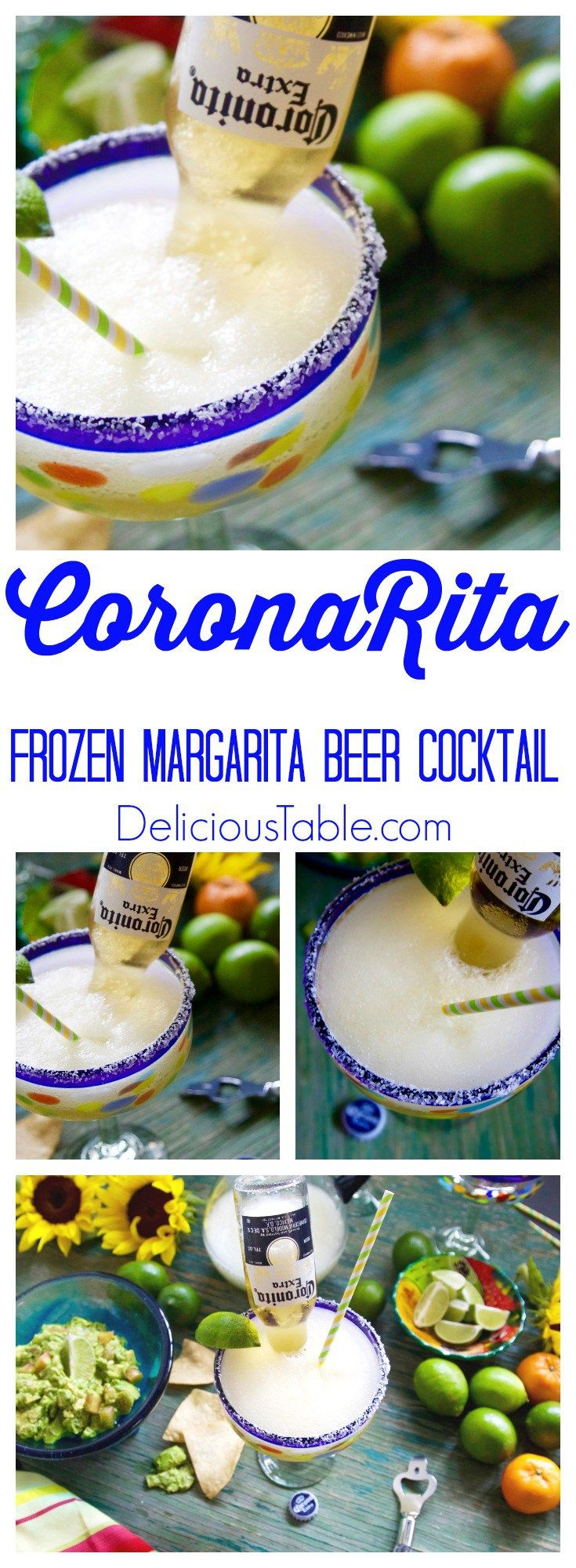 CoronaRita Frozen Margarita Beer Cocktail is perfect when you can't decide between a margarita and a icy cold Corona, you can have both! Serve with guacamole and chips!