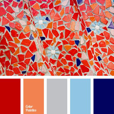 Color Palette #2630 - Like this palette - thininking mostly grey room with accents of red, orange and one of the blues (