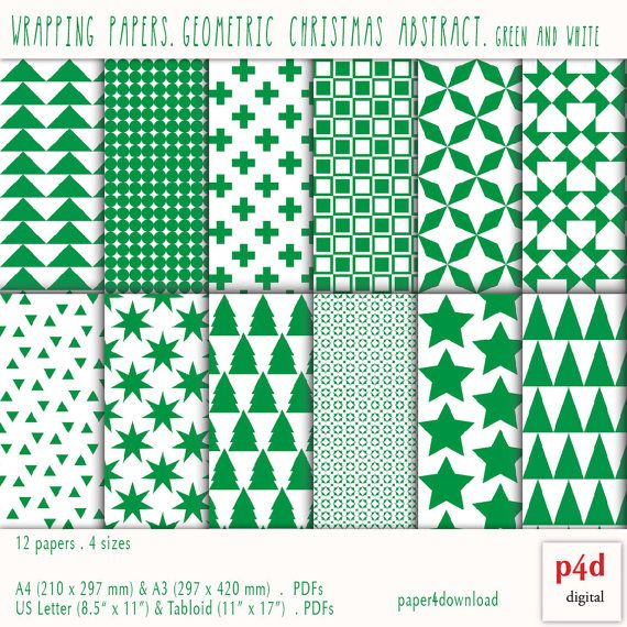 Wrapping Paper  Green Geometric Christmas by paper4download