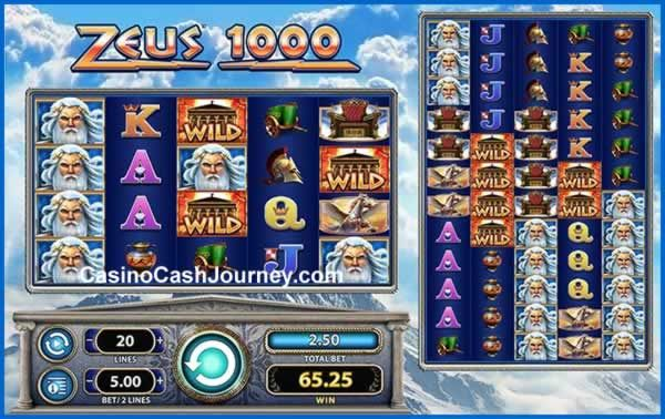 Zeus 1000 is a Williams Interactive powered video slot with 100 pay-lines and two sets of reels: the main and colossal reel-set. Win big with Stacked Wilds that transfer onto the colossal reels and reap even bigger returns in a Free Spins feature with 1,000 special Zeus Add symbols! http://blog.casinocashjourney.com/2015/09/27/zeus-1000-slot-by-wms/