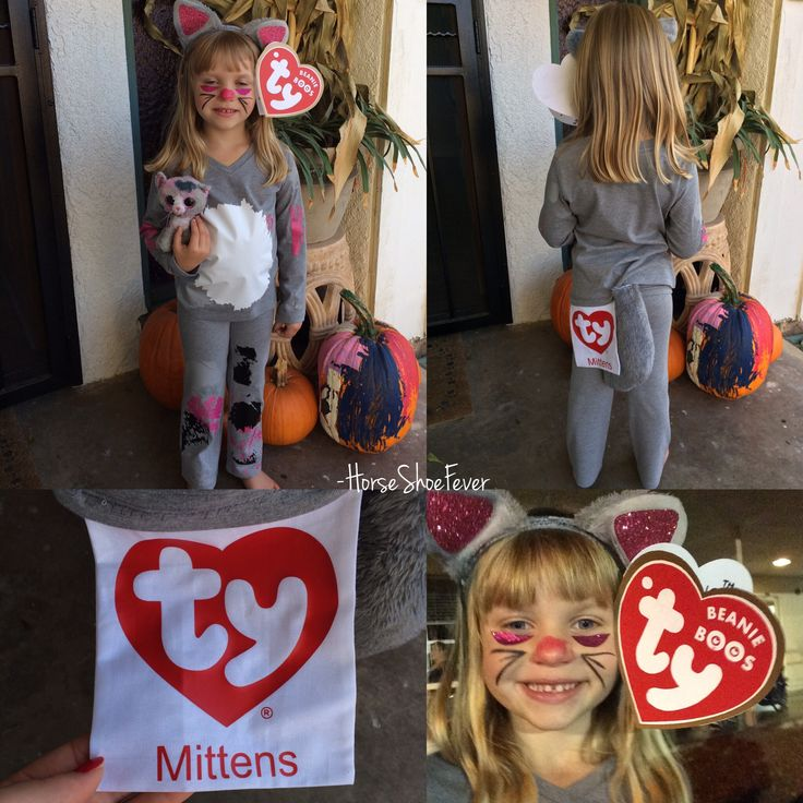 DIY Kids Halloween Costume. Beanie Boo Cat, Beanie Baby Costume. Creative Costumes, Handmade Halloween Costumes, TY Beanie Boo, Cat Costume, Heat Transfer Vinyl Graphics by Etsy Shop HorseShoeFever - Personal Project.