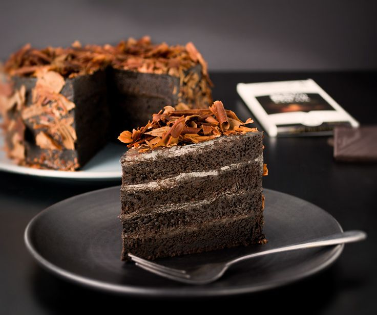 Dark, indulgent and decadent Black Velvet Cake   Made with the intensely flavoured Lindt Excellence 85% Cocoa