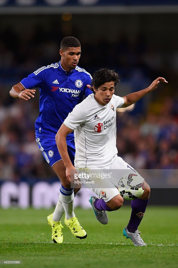 Matias Fernandez of Fiorentina holds off a challenge from Ruben Loftus-Cheek of Chelsea during a Pre Season Friendly between Chelsea and Fiorentina at Stamford Bridge on August 5, 2015 in London, England.