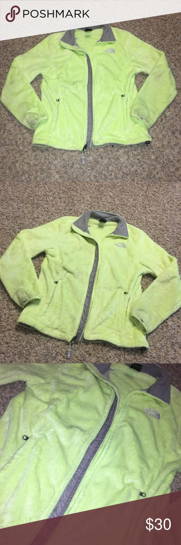 North Face Jacket Neon yellow north face jacket, so soft and in great condition, size medium, only sign of wear is at wrists. The North Face Jackets & Coats