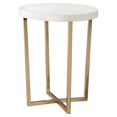 Threshold™ Round Accent Table - White and Gold