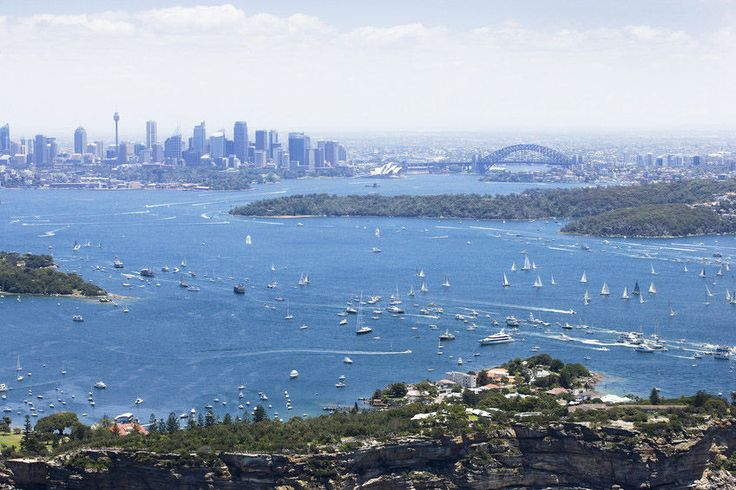Aerial view of the Sydney to Hobart Yacht Race on Sydney Harbour.