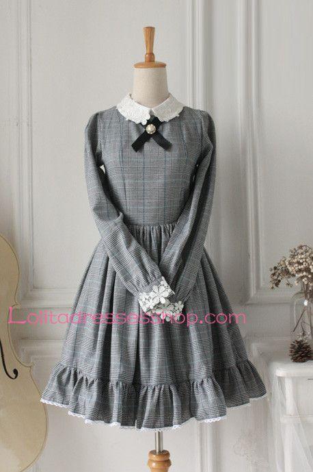 Grey Lattice Cotton Lapel Long Sleeves Classic Lolita Dress