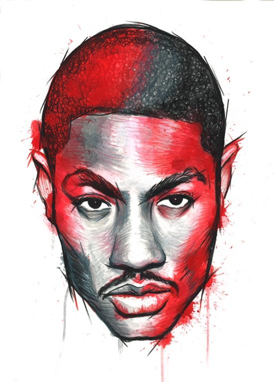 Derrick Rose Illustration by ginozko