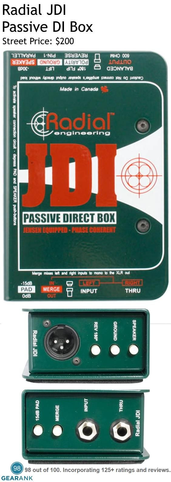 Radial JDI Passive DI Box. This is one of the highest rated DI Boxes on the market. Features: Jensen Transformer equipped passive DI - Eliminates hum and buzz from ground loops - Virtually zero phase & harmonic distortion - Exceptional signal handling and noise rejection