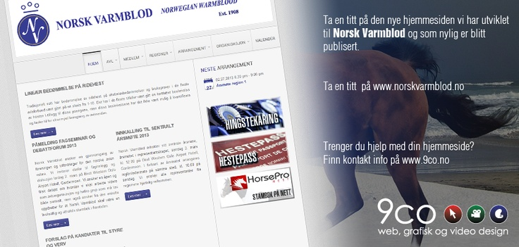 Here is the new homepage we made for Norwegian Warmblod