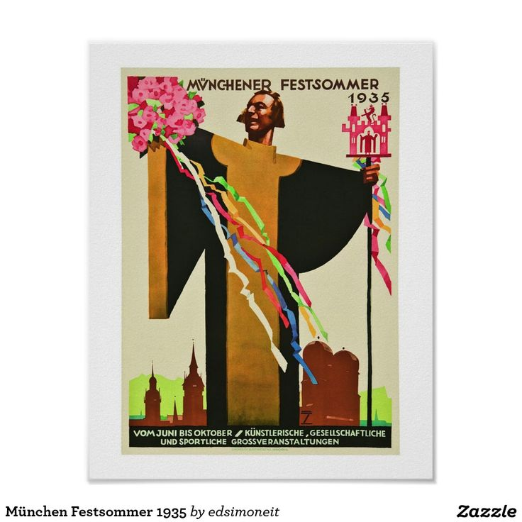 München Festsommer 1935 Poster...Vintage Advertisement for Munich Summer Festival in  1935...proclaiming large events from June until October ............The dominant figure in the poster is the monk with outstretched hands, which is the age old symbol of the city of Munich......artwork by Ludwig Hohlwein.